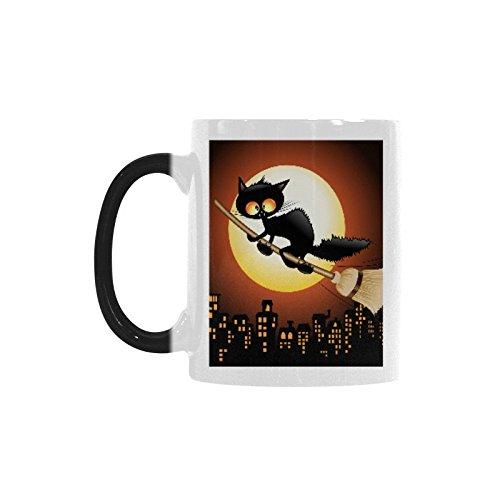 InterestPrint Kitchen & Dining Funny Halloween Cat Morphing Mug Heat Sensitive Color Changing Mug Ceramic Coffee Mug Cup-White-11 oz-Halloween Black Cat Cartoon Flying on Witch Broom Moon ()