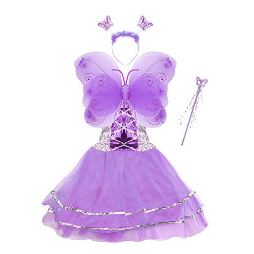 Girls Dress Up Princess Fairy Costume Set with Dress, Wings, Wand and Headband for Children Ages -