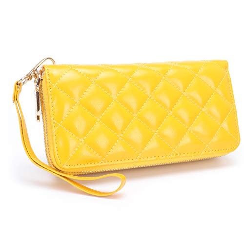 b2d10e0dbc1e MuLier Womens Large Capacity Luxury Genuine Leather Clutch Wallet Double  Zippers Card Organizer Ladies Purse -Yellow