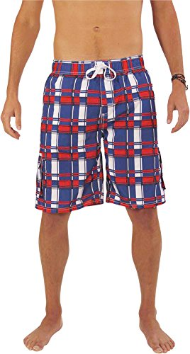 Norty Swim - Mens Plaid Swim Suit, Roayl, Red, White - Discount Swimwear Mens