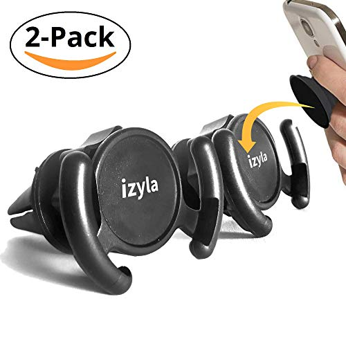 izyla Pop Clip Socket Car Mount & Holder for Cell Phone [2 Pack] - Air Vent Clip Designed for Android or iPhone with Pop Clip/Socket || Sturdy Mount with 360 Degrees Grip & Lock for GPS Navigation