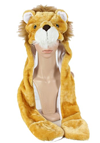 Funnie 21 Novelty Animal HAT Cosplay CAP - Unisex Fit Adult & Children- Soft Warm Headwraps Headwear with Mittens (The Lion King)