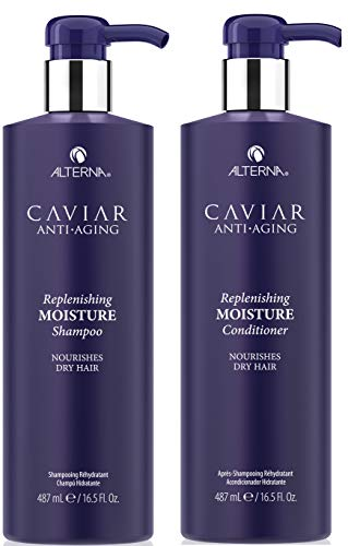 Silk Repair Protein Leave - CAVIAR Anti-Aging Replenishing Moisture Shampoo and Conditioner Set, 16.5-Ounce (Packaging May Vary)
