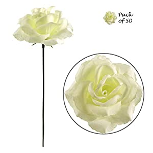 Larksilk Artificial Flowers 50 Pcs Bulk Fabric Cream White Silk Rose Picks with Flexible 8″ Stems | Fake Flowers Perfect for Wedding Decorations, Table Centerpieces, DIY Projects