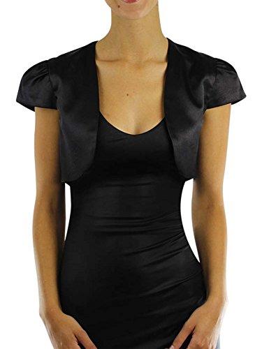 Luxury Divas Black Short Sleeve Satin Bolero Shrug Jacket Size X-Large
