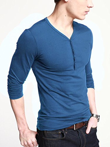 iLoveSIA Mens Henley T-shirts Long Sleeve With Button Placket