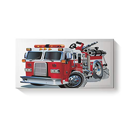 Rectangle Canvas Wall Art Oil Painting for Office Bedroom Living Room Home Decoration,Cartoon Firetruck Pattern Modern Artworks,Stretched by Wooden Frame,Ready to Hang,12x24in