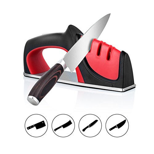 Knife Sharpener - WoNiu Kitchen Knife Sharpener with 3 Stage Diamond Coated Wheel System Design for Reshaping, Sharpening and Polishing, Manual Knife Sharpener for Straight Knives (Butterfly Knife Coated)