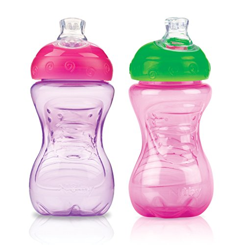 Nuby 2-Pack No-Spill Super Spout Easy Grip Cup, 10 Ounce, Pi