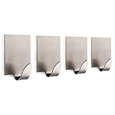 4 pcs Stainless Steel Self Adhesive Stick Wall Hook Hanger Holder