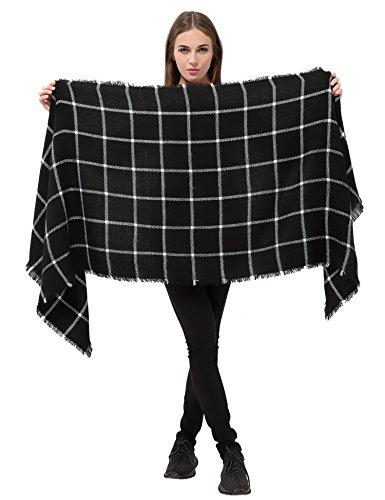 Dimore Fashion Women Scarf Shawl Wraps Pashminas (Black and White)