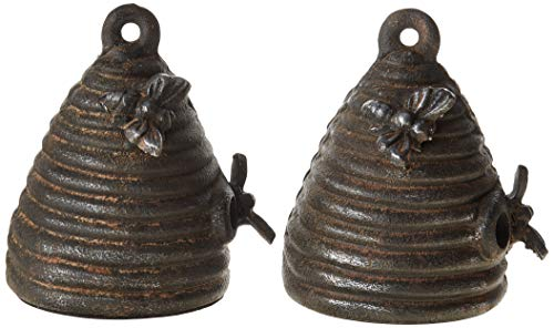 Creative Co-op Cast Iron Beehive (Set of 2 Pieces) Bookends, Black
