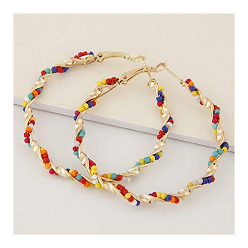 Twisted Beaded Hoop Earrings for Women Multi Color Bohemia Beads Dangle Drop Earrings Jewelry-colorful ()