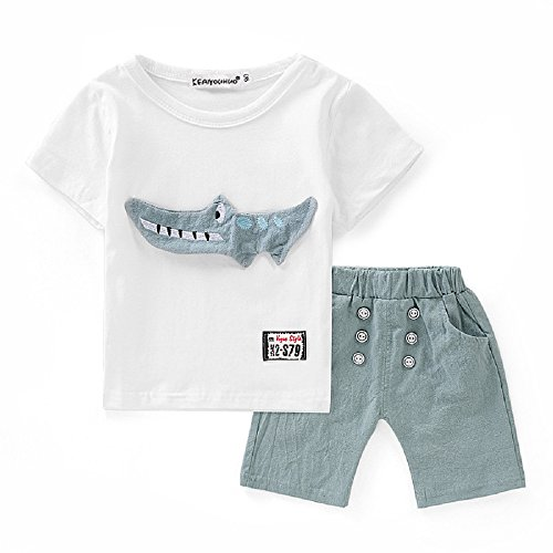 - Wcysin Toddler Kid Baby Boy Outfits Clothes Cartoon Crocodile Print T-Shirt Tops+Shorts Set (12-24Month)