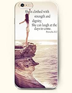 OOFIT Apple iPhone 6 (4.7 inches) Case - Christian Quote She is Clothed with Strength & Dignity She Laughs without Fear of the Future She Speaks Her Words Are Wise and She Gives Instructions with Kindness Proverbs 31:25/ Girl and Sea