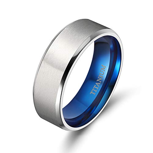 - TIGRADE 4MM/6MM/8MM Unisex Titanium Wedding Band Rings in Comfort Fit Matte Finish for Men Women (Blue 8mm, 10.5)