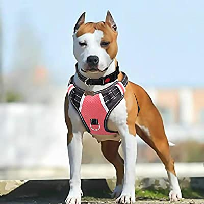Babyltrl Pink Large Dog Harness No Pull Adjustable Pet Reflective Oxford Soft Vest for Large Dogs Easy Control Harness (Dog Collar Included) (L, Pink)