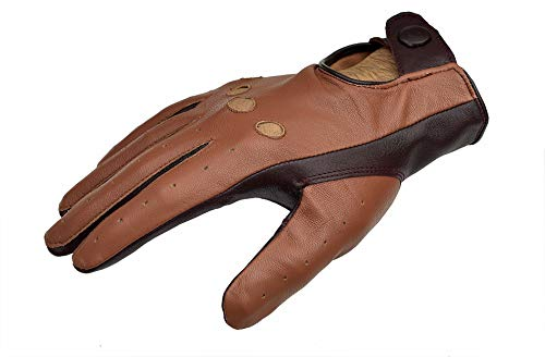 (Two Tone Unlined Leather Driving Gloves - Cognac/English Tan (X-Large))