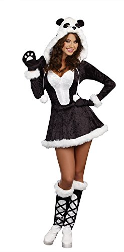Dreamgirl Women's Panda Bear Baby Costume, Black, (Girls Panda Halloween Costume)