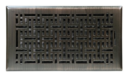 "Accord Ventilation AMFRRBB612 Wicker Design Floor Register, Oil Rubbed Bronze, 6"" x 12"", Brown"