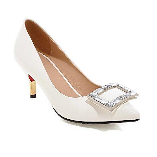 AgooLar Damen Hoher Absatz Eingelegt Ziehen auf Lackleder Spitz Zehe Pumps Schuhe, Golden, 32