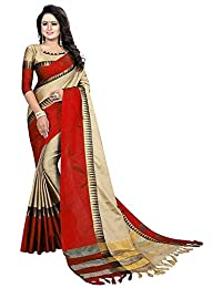 VintFlea Womens Bollywood Designer Party Wear Cotton Silk Saree with Blouse Piece