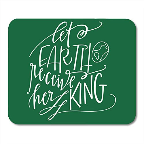 (Shirna Mouse Pads Christian Let Earth Receive Her King Christmas Quote Carol Jesus Mouse pad 9.5