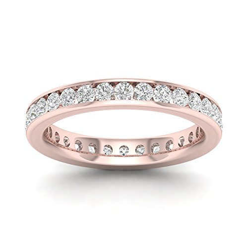 - IGI Certified 14k Rose Gold 1 ct TDW Diamond Eternity Wedding Band (H-I, I2)