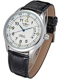 Men's Day Date Leahter Automatic Mechanical Sport Fashion Self-Wind Wrist Watch