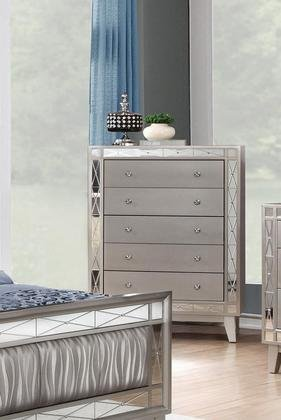 Coaster Leighton Collection 204925 32'' Chest with 5 Drawers Mirror Panel Accents Crystal Knobs Poplar Wood and Asian Hardwood Frame in Mercury Metallic