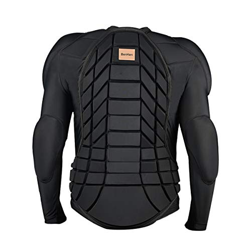 BenKen Skiing Anti-Collision Sports Shirts Ultra Light Protective Gear Outdoor Sports Anti-Collision Clothing Armor Spine Back Protector (Long Black-S)