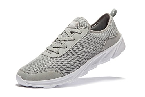 Newluhu Men's Running Shoes Fashion Sneakers Breathable Mesh Soft Sole Casual Athletic Lightweight (9.5US/43EU, grey)