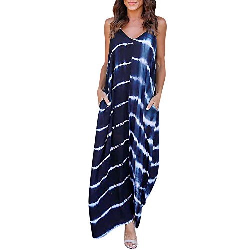 Maxi Dresses for Women, Casual Summer Sunflower Maxi Dress Strappy Irregular Hawaiian Boho Hippie Dress by - A-line Sweep Scoop