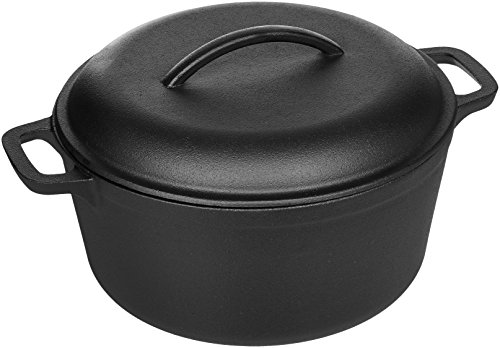 AmazonBasics Pre-Seasoned Cast Iron Dutch Oven Pot with Lid and Dual Handles, 5-Quart