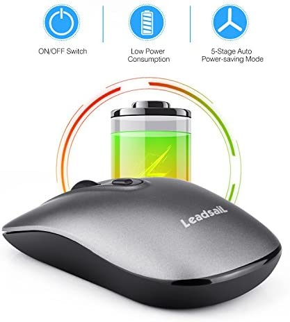 LeadsaiL Rechargeable Wireless Computer Mouse, 2.4G Portable Slim Cordless Mouse Less Noise for Laptop Optical Mouse with 5 Adjustable DPI Levels USB Mouse for Laptop, Deskbtop, MacEbook