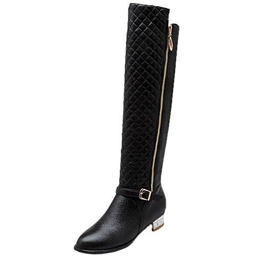 Over Knee Zipper Boots Rhombus Winter the High Warm Knee HooH Black Women Boots FqdUwzdZ