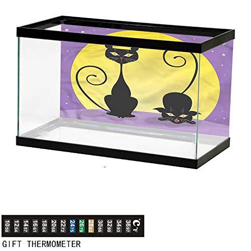 bybyhome Fish Tank Backdrop Cat,Two Black Kitties Full Moon,Aquarium Background,30