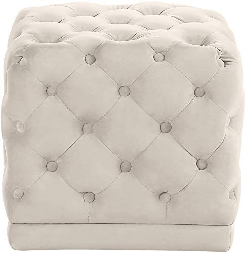 Meridian Furniture Stella Collection Modern Contemporary Velvet Upholstered Ottoman Stool