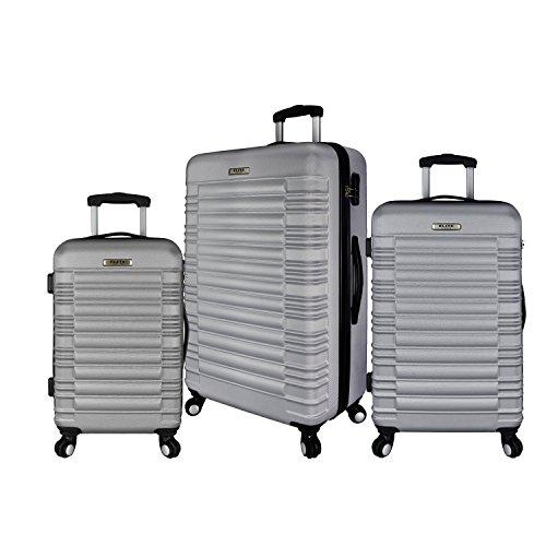Elite Luggage 3-Piece Hardside Spinner Luggage Set, Silver ()