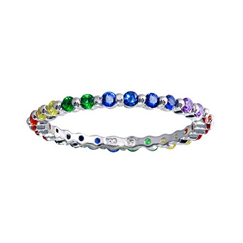 SURANO DESIGN JEWELRY Sterling Silver Stackable Eternity Band Ring w/Multi Color Rainbow CZ Stones (9)