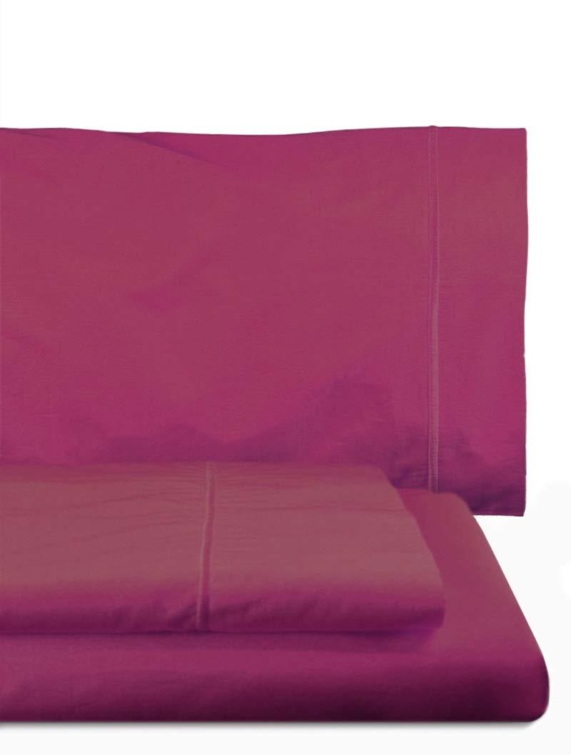 Home Royal - Juego de sábanas compuesto por encimera, 250 x 285 cm, bajera ajustable, 158 x 200 cm, 2 fundas para almohada, 45 x 85 cm, color malva