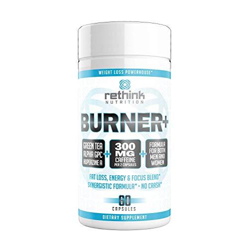 Rethink Nutrition Fat Burner, Weight Loss Supplement, Intense Focus With Huperzine A, Green Tea Extract, Nootropic, Caffeine, Energy Booster, Diet Pill for Men & Women, Melt Belly Fat, 60 Pills