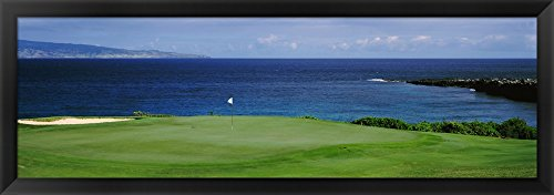 Kapalua Golf Course, Maui, Hawaii by Panoramic Images Framed Art Print Wall Picture, Black Frame, 40 x 14 inches by Great Art Now
