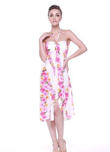 Vestido de mariposa hawaiana para mujer Rosa Floral Panel en blanco Blanco