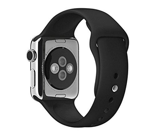 Apple Watch 42mm Stainless Steel Case w/ Black Sports Band (Renewed)