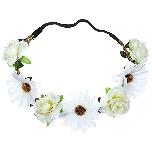 UROSA Boho Ladies Floral Flower Festival Wedding Garland Hair Head Band Beach Party Headwear - Lace Bras Mimi
