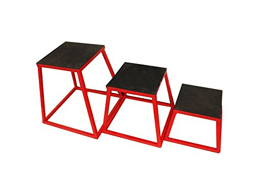 PowerFit Equipment set of Red Plyometric Step 12'', 24'', and 30'' by PowerFit Equipment