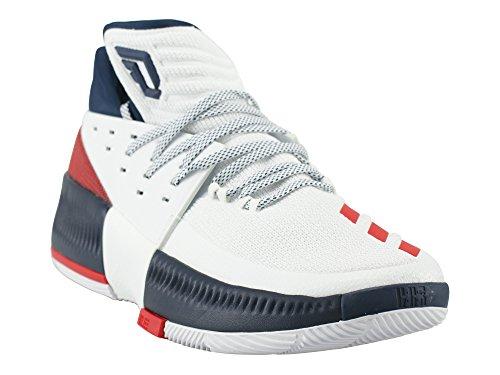 Adidas Mens Dame 3, Bianco / Scarle / Navy, 12 M Us