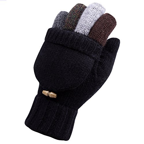 Warmen+Men%27s+Wool+Knitted+Convertible+Winter+Fingerless+Driving+Gloves+Mitten+with+Fold+Back+Pocket+%28One+Size%2C+Black+%28+2016+New+Version+%29%29
