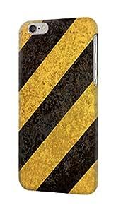 E2231 Yellow and Black Line Hazard Striped Funda Carcasa Case para IPHONE 6S